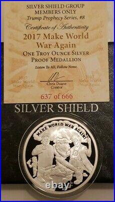 1 Oz. 999 Pure Silver Shield Proof Make World War Again Round Coin Trump Members