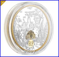 1 oz. 99.99 Pure Silver Gold-Plated Coin First World War Allies France (2018)