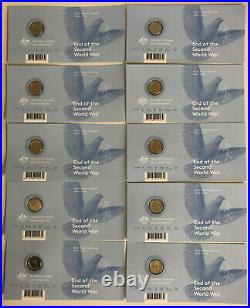 10x 2020 $2 75TH ANNIVERSARY END OF WORLD WAR II WWII'C' MINTMARK COLOURED COIN