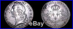 1762-R French Ecu World Silver Coin France Orleans Louis XV
