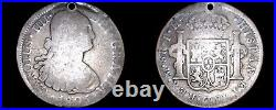 1805-Mo TH Mexican 8 Reales World Silver Coin Mexico Carlos IIII Holed