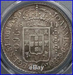 1814 R Brazil Large Crown Silver 960 Reis Au 50 Pcgs South