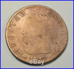 1819 JF Colombia 8 Reales Silver World Coin Cundinamarca RARE Nueva Granada