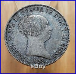 1852 (XF-AU) Spain 10 Reales Isabel II World Silver Coin
