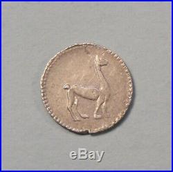 1855 Peru 1/4 Real Silver World Coin South America Lima RARE Llama Alpaca