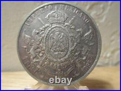 1866 Mo Second Republic Mexico Maximilian Silver Coin KM-388.1 Peso World Money
