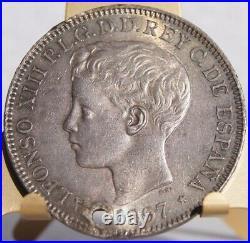 1897-SGV Philippino 1 Peso World Silver Coin Philippines Spanish Admin Holed