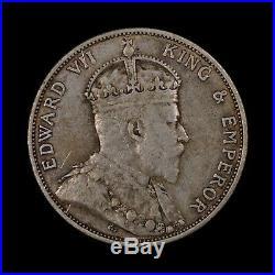 1902 Hong Kong 50 Cents Rare World Silver Coin