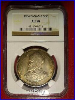 1904 panama 50 centesimos ngc au58 world crown 8 reales peso toned silver coin