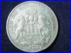 1908-J German States Hamburg 5 Mark World Silver Coin p-107