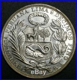 1916 FG Peru World Silver Large Crown 25 Gr. 900 Fine Silver Strong Round Coin