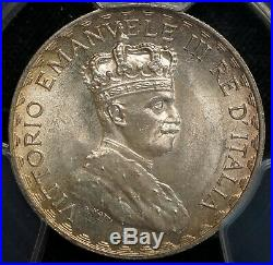 1925-L Italian Somaliland 5 Lira PCGS MS65 GEM UNC World Silver Coin