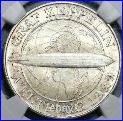 1930-F NGC MS 66 Zeppelin World Flight Germany 5 Mark Silver Coin (20052003C)