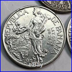 1931, 1934 & 1947 Panama Silver Balboa Trio Set Beautiful World Silver Coins