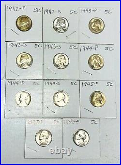 1942 Ps-1945 Pds Complete Set(11)coins Unc Bu Us World War 2 35% Silver Nickels