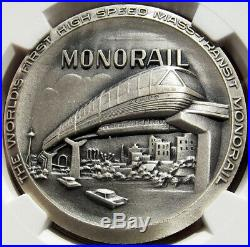 1962 Seattle World's Fair Monorail Silver Medal MS68 NGC Token, Coin, Alweg