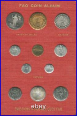 1968-1970 FAO World Coin Album #1 red complete Proof/BU 52 Coins some silver