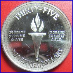 1973 MINERVA $35 PROOF 0.80oz SILVER + 0.02oz GOLD GODDESS RARE WORLD COIN 39mm