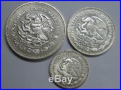 1985 Mexico 25+50+ 100 Pesos Fifa World Cup 86 Lot 3 Coins Silver