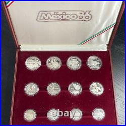 1986 Mexico World Champion Of Football Silver Proof 12 Coin Set