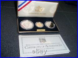 1994 World Cup 3 Coin Commemorative Set With $5.00 Gold And Silver Dollar & Half