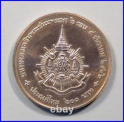 1999 King Bhumibol Adulyadej 72nd Birthday 600 Baht Silver Unc World Coin Rama 9