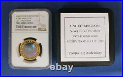 1999 Silver Piedfort Proof £2 coin Rugby World Cup NGC Graded PF69 with COA