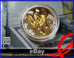 1oz 2014 Feng Shui Horse Silver Proof Coloured Coin 5000 Worldwide