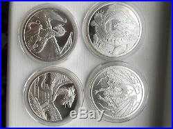 1oz World of Dragons Silver FULL SET X4 Coins Aztec, Welsh, Chinese, Nourse