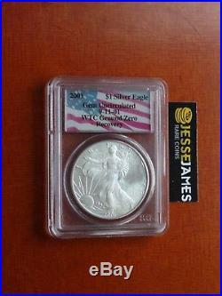 2001 $1 American Silver Eagle Pcgs Gem Uncirculated Wtc World Trade Center 9/11