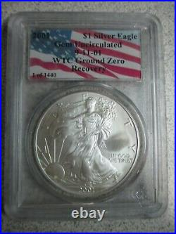2001 American Silver Eagle 1440 World Trade Center Recovery Coin Pcgs Certified