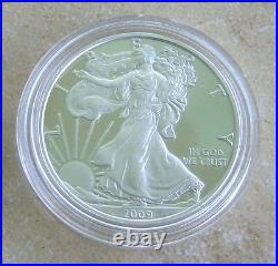 2009 Exquisite Silver Eagle Proof DC Overstrike With Case, Coa And Coin World