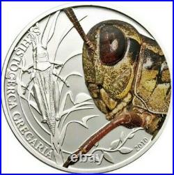 2010 Palau $2 GRASSHOPPER World Of Insects Silver Coin