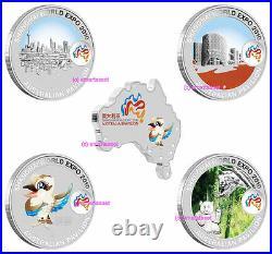 2010 Shanghai China World Expo 5oz Silver Coins Australian Pavilion Koala Panda