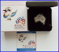 2010 Shanghai World Expo 1oz Australia-Shaped Silver Coin