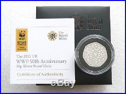 2011 British World Wildlife Fund WWF 50p Fifty Pence Silver Proof Coin Box Coa