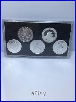 2011 Global Silver Set Five 1 oz Koala, Panda, Eagle, Britannia & Elephant