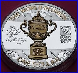 2011 NEW ZEALAND $1 One Dollar Rugby World Cup. 999 Silver Proof Coin + COA