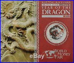 2012 ANA Berlin World Money Fair Australia Black Red Dragon 1oz Silver Coin