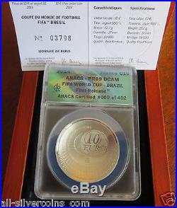 2014 FIFA World Cup Brazil Coins-10 EU Silver ANACS PR69 1st. Release #009
