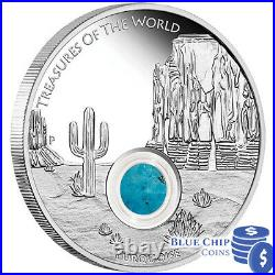 2015 $1 Treasures of the World 1oz Silver Proof Locket Coin with Turquoise