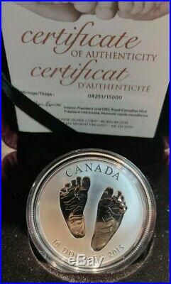 2015 Baby Feet Canadian Fine Silver Coin with COA Welcome to the World