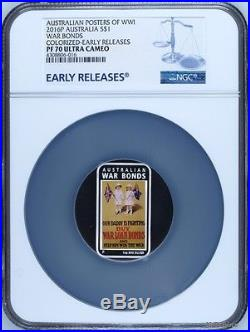 2016 $1 POSTERS OF WW1 WORLD WAR BONDS 1 oz Silver Rectangle Proof Coin NGC PF70