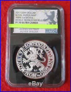 2017 Lion Dollar Royal Dutch Mint 1oz Silver World Money Fair NGC PF 70 UC #MF