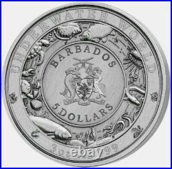 2018 Barbados $5 UNDERWATER WORLD GREAT WHITE 3oz. 999 Silver Coin Box & COA
