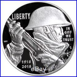 2018 Proof World War I Silver Dollar Air Service Medal 2pc Set Box OGP & COA