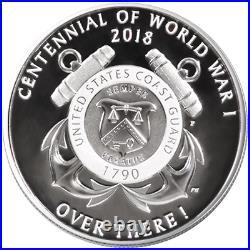 2018 Proof World War I Silver Dollar Coast Guard Medal 2pc Set Box OGP & COA