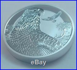 2018 Tuvalu Bald Eagle 2 oz silver piedfort rev. Proof coin in capsule-dog privy