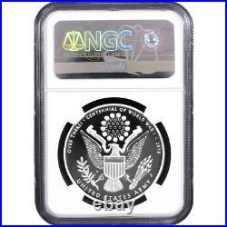 2018-W Proof World War I Centennial U. S. Army Silver Medal NGC PF70UC Flag FR La