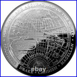 2019 $5 1oz Silver Proof Domed Coin 1626 A New Map of the World Columbus Drake